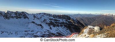 mountain range on a sunny day