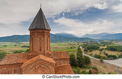 Panorama of the church of the Archangels in Kakheti