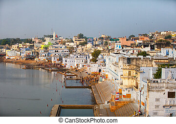 Panorama of the city and sacred lake. India, Pushkar