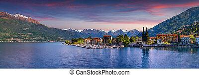Panorama of the city Bellano, lake Lecco