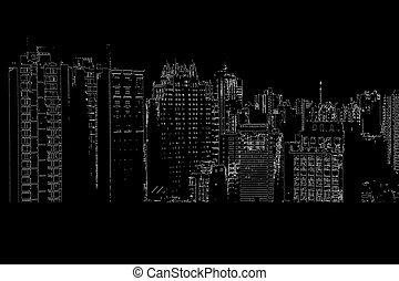 Panorama of the city cartoon illustration