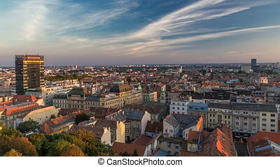 Panorama of the city center timelapse, Zagreb capitol of Croatia, with mail buildings, museums and cathedral in the distance.