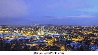 Panorama of the city, Dawn. Oslo, Norway. Zoom. Time Lpase
