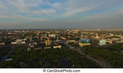 Panorama of the city from a bird's eye view.