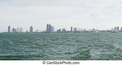 Panorama of the city from the sea.