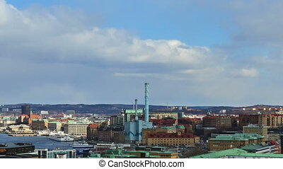 Panorama of the city. Gothenburg, Sweden. Time Lapse