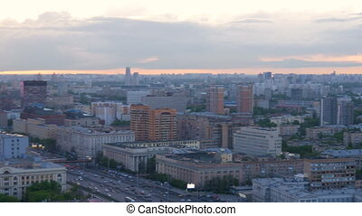 Panorama of the city, in the evening. On the Sunset.
