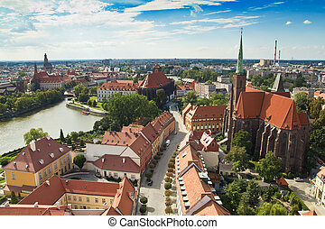 Panorama of the city of Wroclaw in Poland