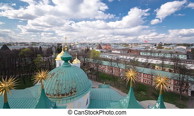 Panorama of the city of Yaroslavl timelapse from the bell tower of the Spaso-Preobrazhensky monastery