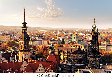 Panorama of the city skyline at sunset  in Dresden, Saxony