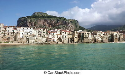 Panorama of the coastline of Cefalu town, Italy - Panorama...