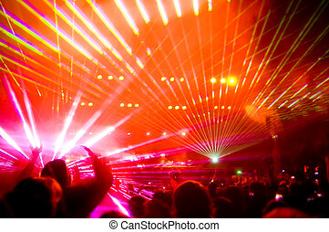 Panorama of the concert, laser show and music, blurred motion