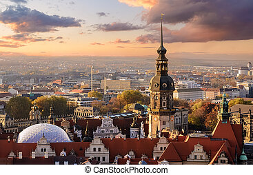 Panorama of the Dresden, city skyline at sunset  in Germany