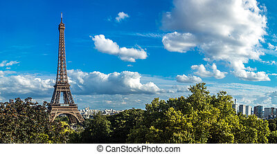 Eiffel Tower in Paris, France - Panorama of the Eiffel Tower...
