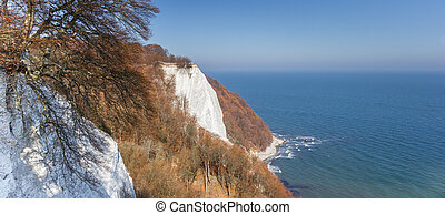 Panorama of the famous white cliff Konigsstuhl in Jasmund National Park, Germany