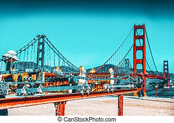 Panorama of the Gold Gate Bridge and the modem miniatur ...