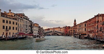 Panorama of the Grand Canal in Italian Venice at sunset.
