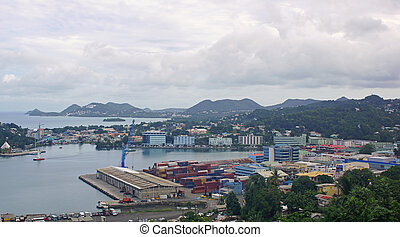 Castries, St. Lucia - Panorama of the harbor of Castries,...