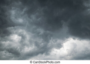 Panorama of the heavy storms, dark clouds going to rain.