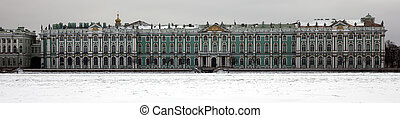 panorama of the hermitage in the winter
