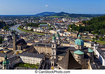 Panorama of the historic city of Salzburg