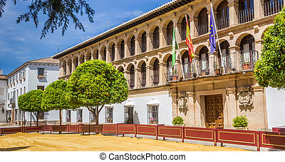 Panorama of the historic town hall of Ronda