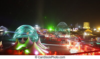 panorama of the kazantip music festival at night, ukraine
