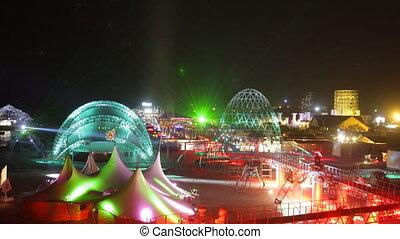 panorama of the kazantip music festival at night, ukraine