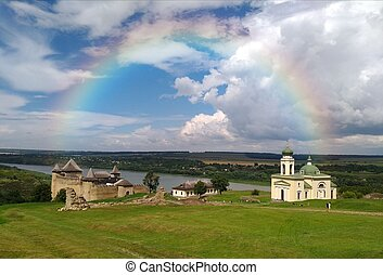 Panorama of the Khotyn fortress with rainbow