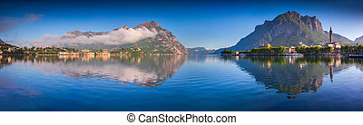 Panorama of the lake Lecco. Lecco, Alps, Italy, Europe.