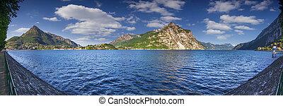 Panorama of the lake Lecco. Lecco