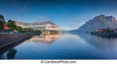 Panorama of the lake Lecco. Lecco.