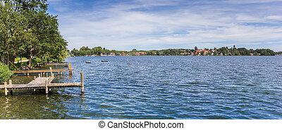 Panorama of the lake near historic city Plon