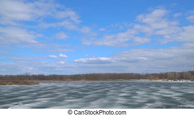 Panorama of the lake or river in the winter