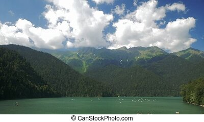 Panorama of the lake ritsa, Abkhazia, southern Caucasus. Time lapse