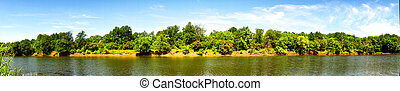 Panorama of the lake with a forest on the opposite shore