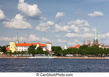 Panorama of the Latvian capital Riga on a summer day with ships