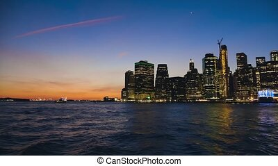 Panorama of the Manhattan downtown at sunset, New York