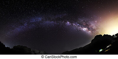 Panorama of the Milky Way - Panoramic view of the Milky Way ...