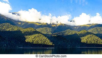 Panorama of the mountain lake Ritsa.