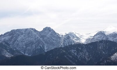 Panorama of the mountain landscape in Poland, the village of...