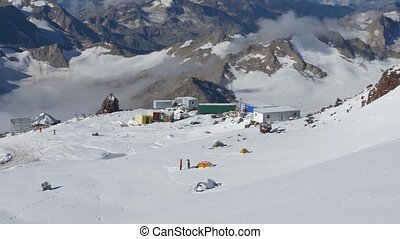 Panorama of the mountains. A view of the camp of climbers...