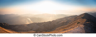Panorama of the mountains at sunset.