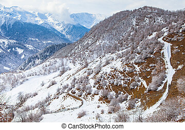 Panorama of the mountains Caucasus in Snow Valley Svaneti