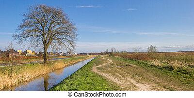 Panorama of the nature area De Onlanden in Eelderwolde, Netherlands