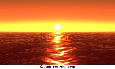 panorama of the ocean sunset, sea sunset