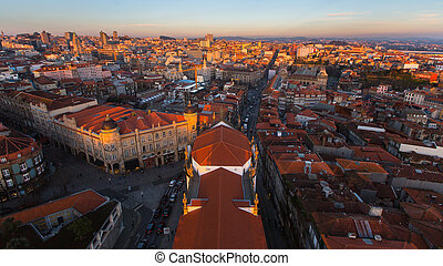 Panorama of the old city centre from Clerigos tower, Porto,...