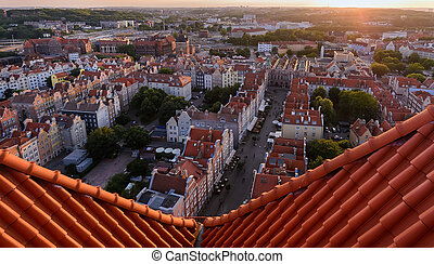 Panorama of the old city during sunset in Gdansk Poland