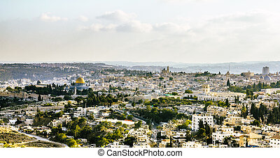 Panorama of the old city from the Mount of olives, Jerusalem...