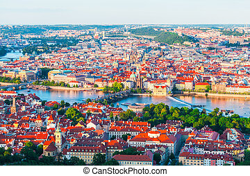 Panorama of the old Prague from the Petrin tower, Czech Republic.